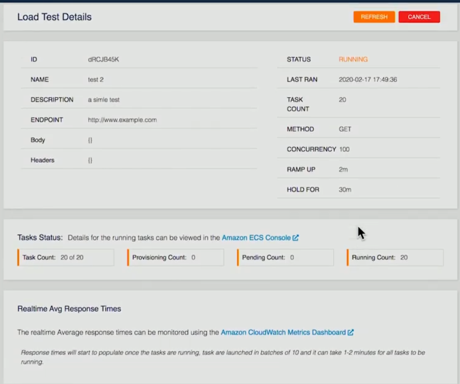 AWS Load Test Details