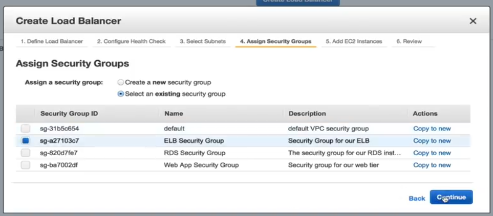 Assign Security Groups
