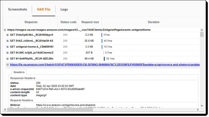 CloudWatch HAR File