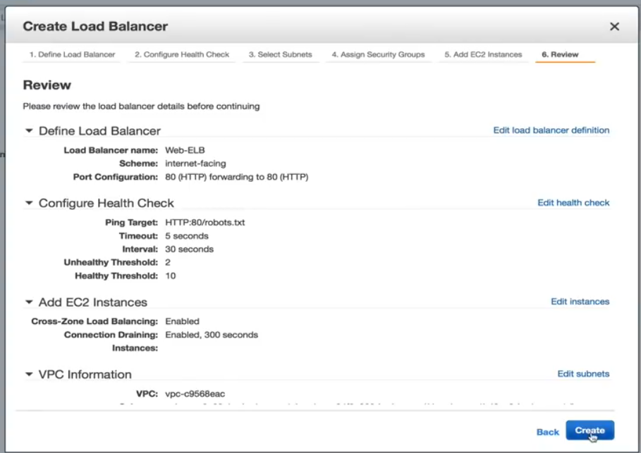 Create Load Balancer Review Page