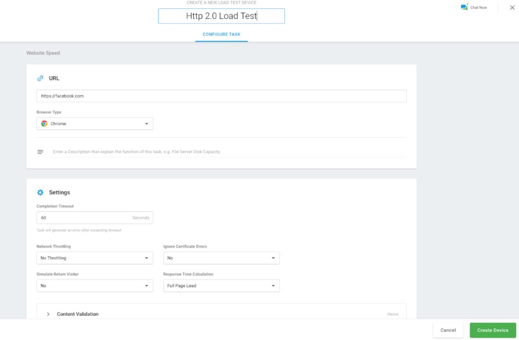 Create New Load Test Device
