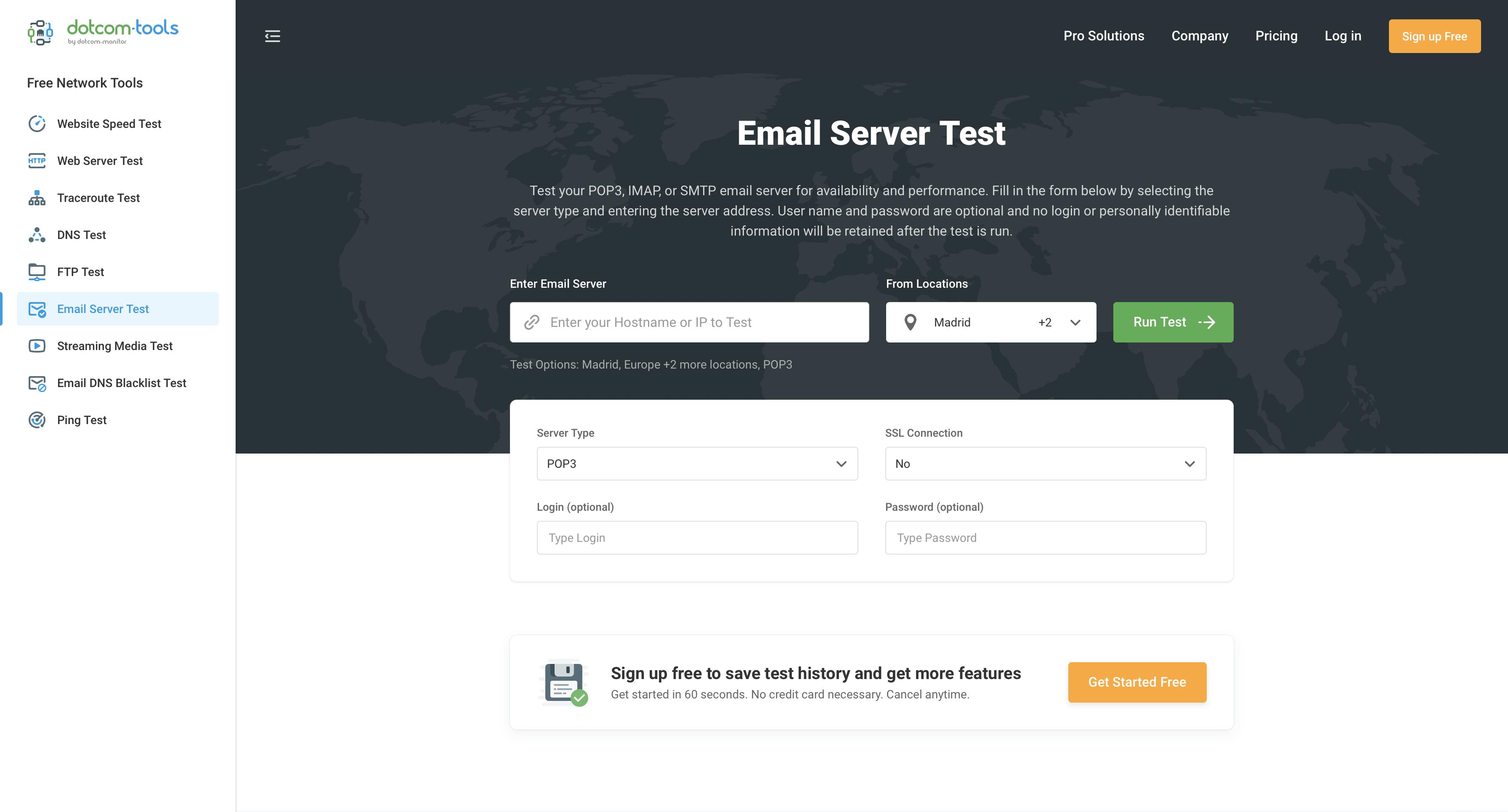 Teste do servidor de e-mail