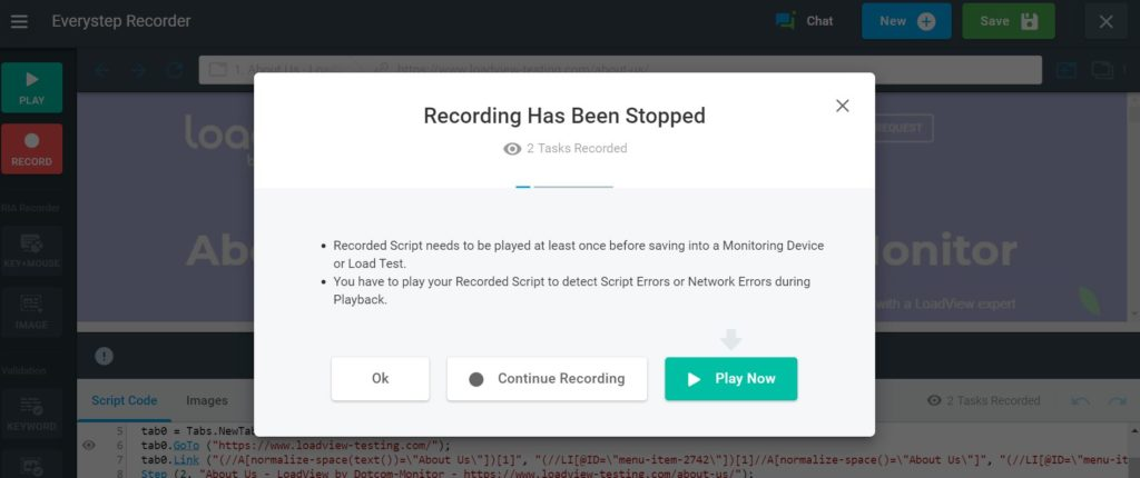 EveryStep Web Recorder Recording Stopped