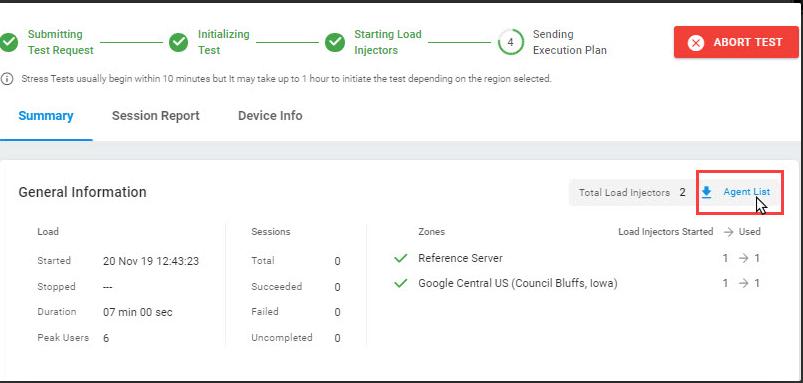 Internal Application Load Test Summary