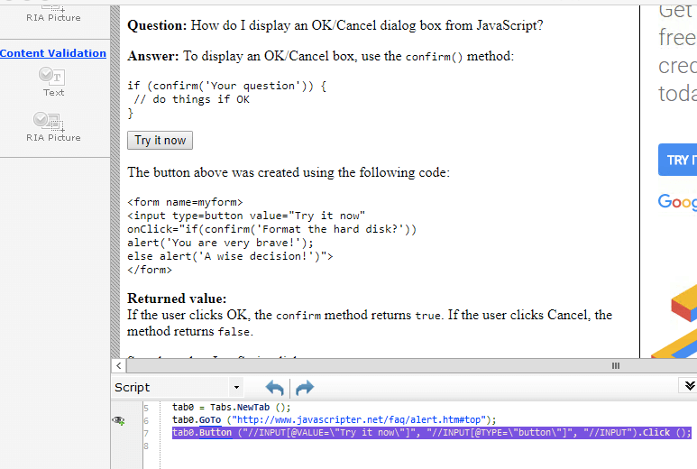 JavaScript-Datensatztestskript