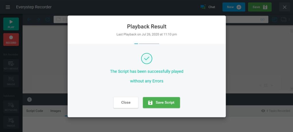JavaScript Playback Result