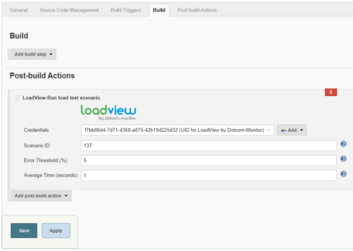 LoadView Plugin for Jenkins Post-build Actions