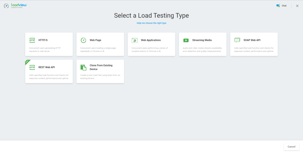 LoadView Select a Load Testing Type