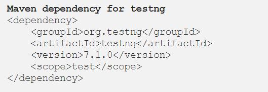 Maven dependency TestNG