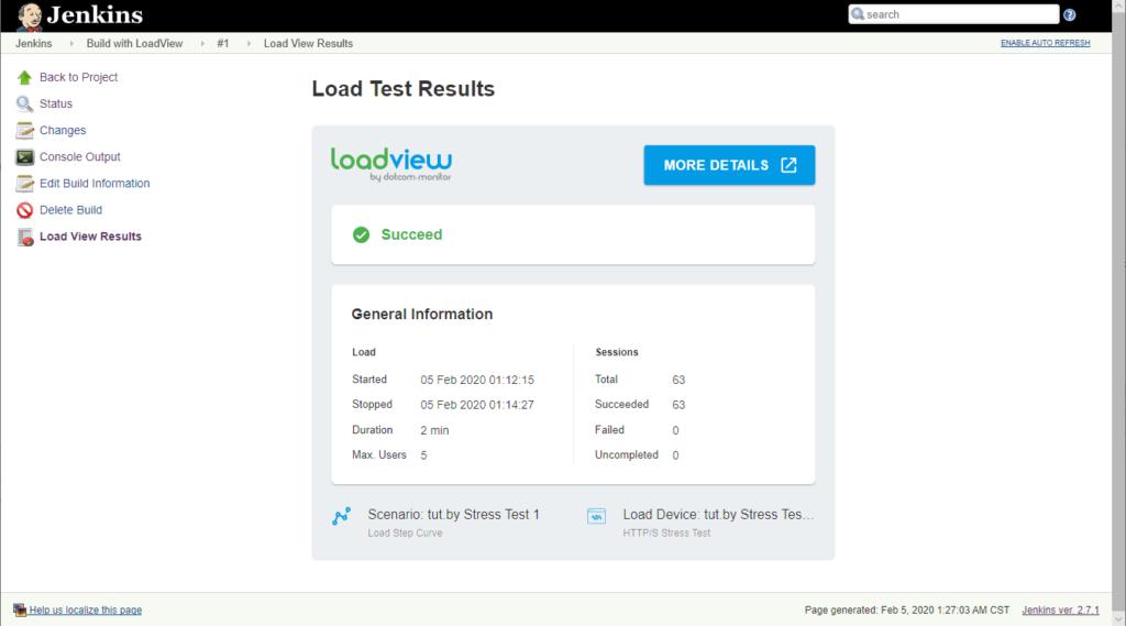 Resultados del rendimiento de las pruebas del cartero Jenkins LoadView