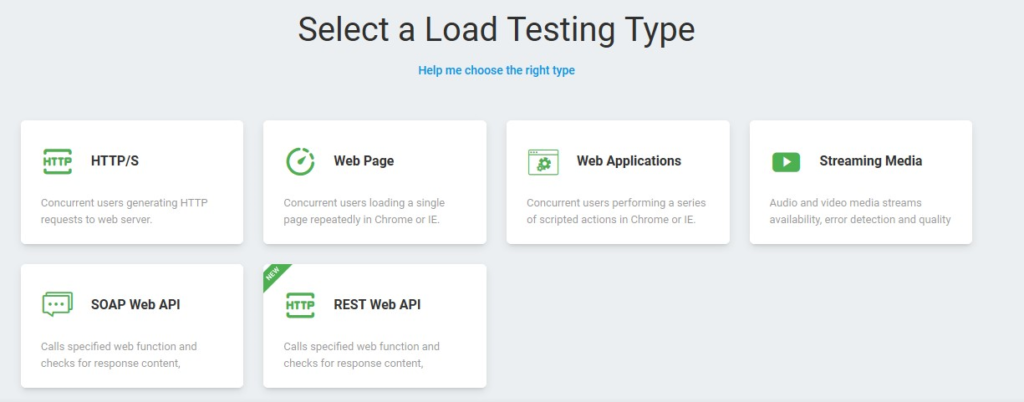 Select a Load Testing Type Web Application