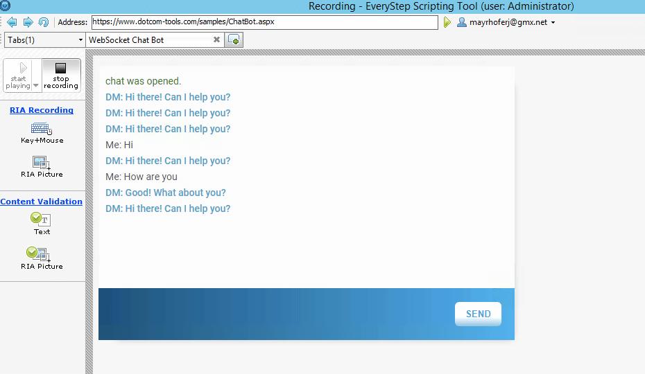 WebSockets Record Test Script